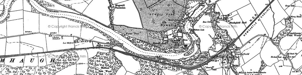 Old map of Bywell in 1895