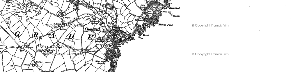 Old map of Cadgwith in 1878