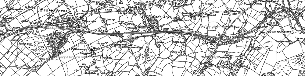 Old map of Afon Lash in 1905