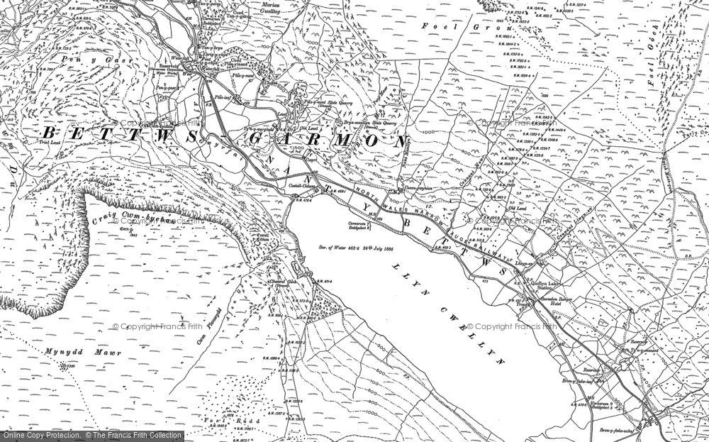 Old Map of Historic Map covering Afon Treweunydd in 1887