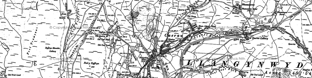 Old map of Caerau in 1875
