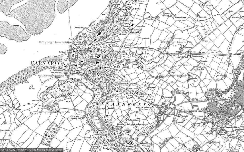 Old Map of Historic Map covering Afon Cadnant in 1888