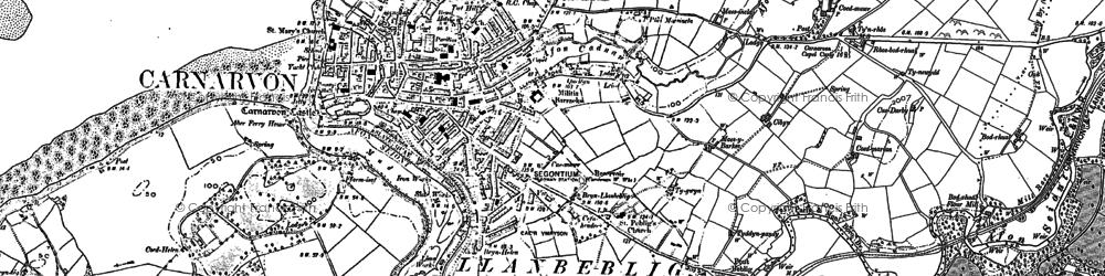 Old map of Caernarfon in 1888