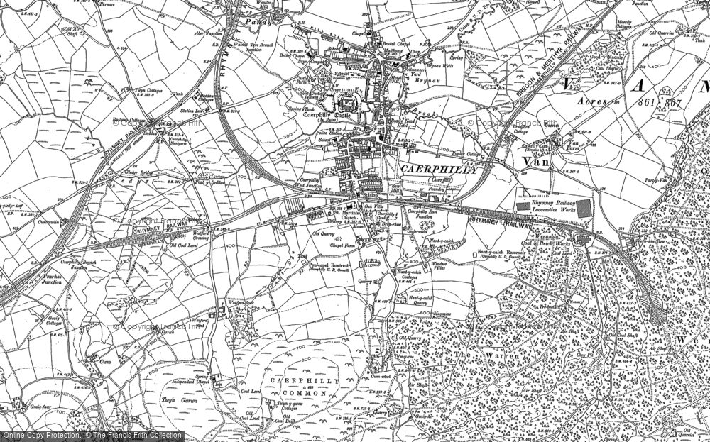 Old Map of Caerphilly, 1915 in 1915