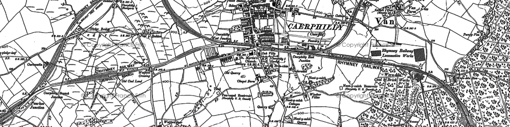 Old map of Caerphilly in 1915
