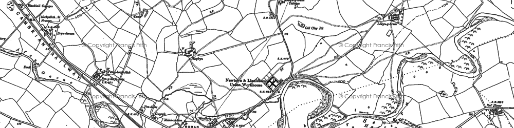 Old map of Caersws in 1884