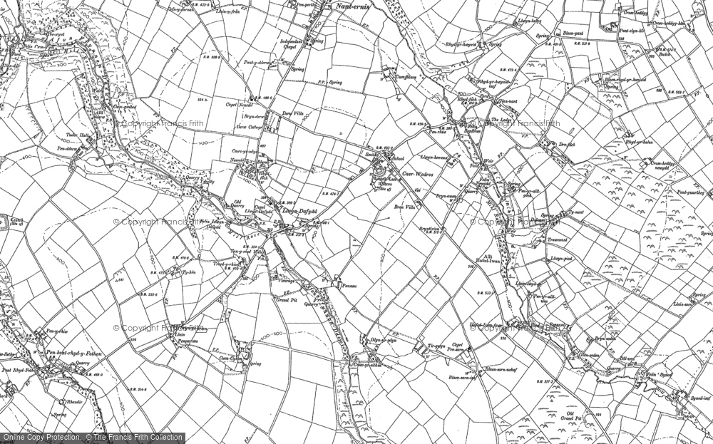 Old Map of Historic Map covering Afon Ffynnon-Ddewi in 1904