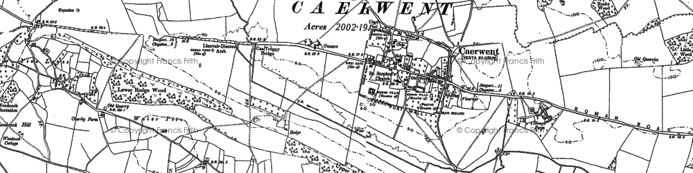 Old map of Caerwent in 1900