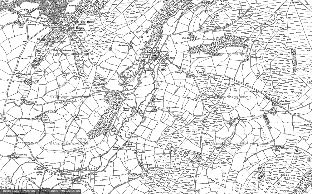 Old Map of Historic Map covering Aberbowlan in 1886