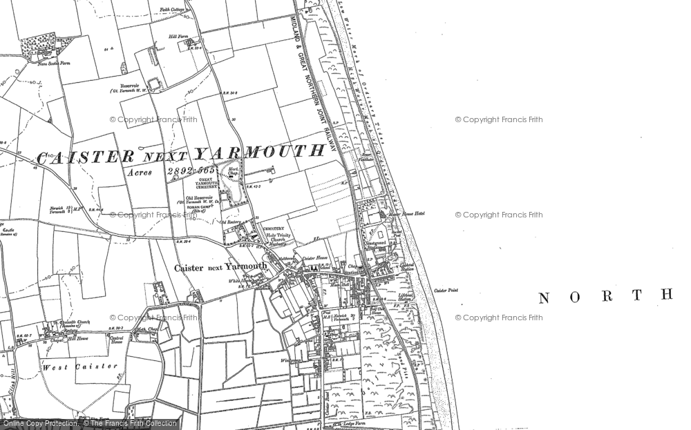 Old Map of Caister-on-Sea, 1904 - 1905 in 1904
