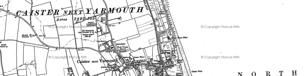 Old map of Caister-on-Sea in 1904