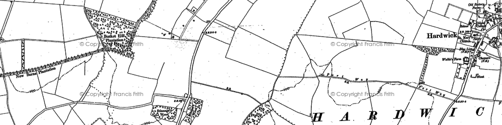 Old map of Caldecote in 1886
