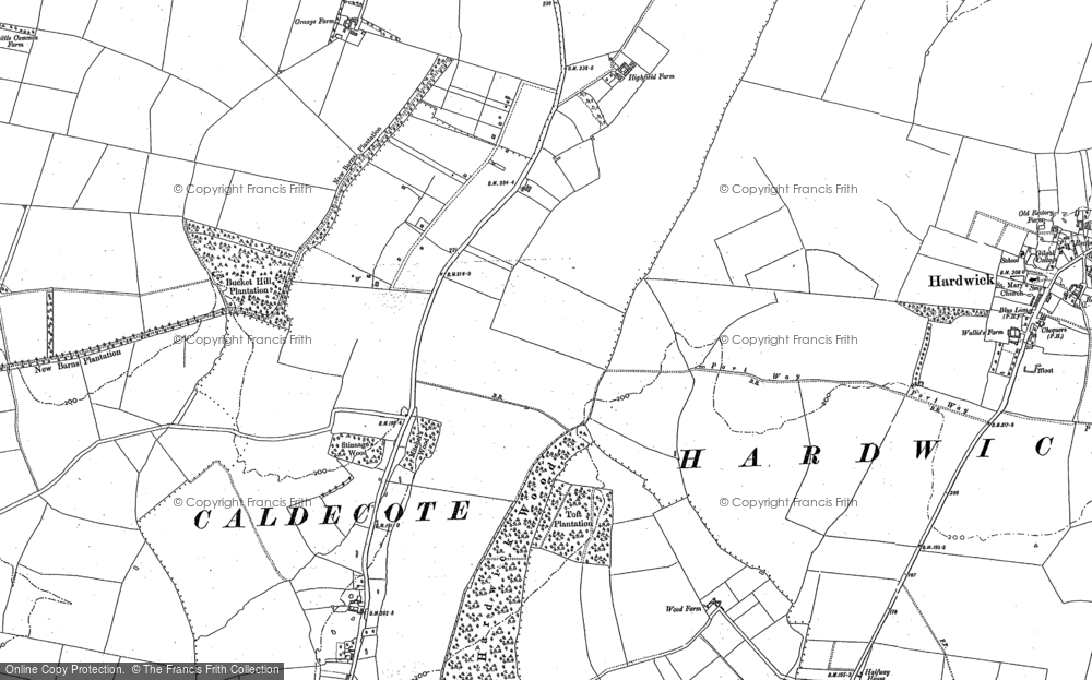 Old Map of Historic Map covering Highfields in 1886