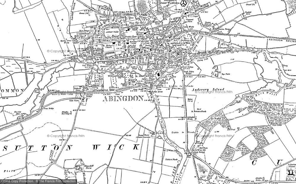 Old Map of Historic Map covering Abingdon Br in 1910