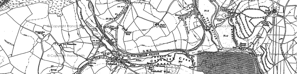 Old map of Calenick in 1879