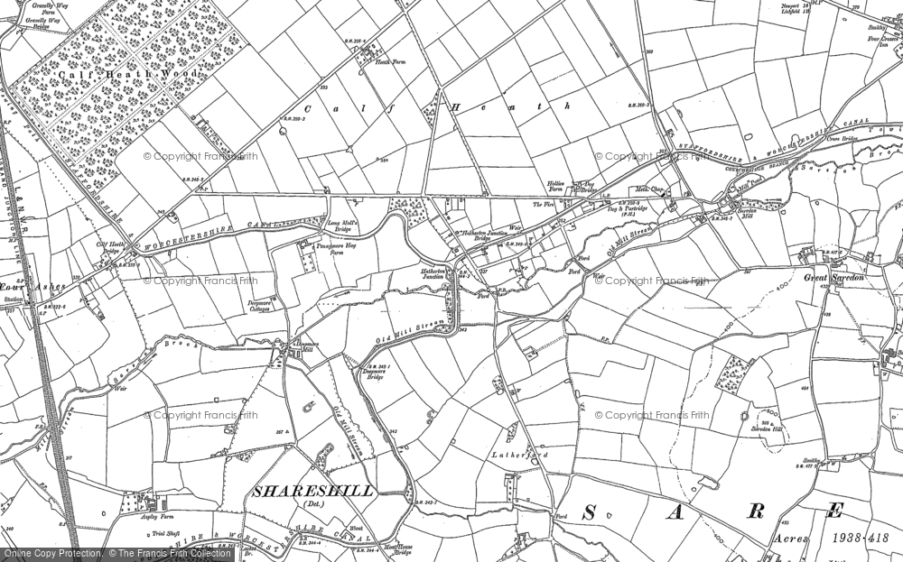 Old Map of Historic Map covering Latherford in 1883