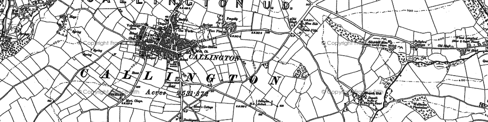 Old map of Callington in 1905