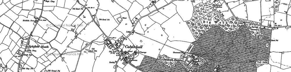 Old map of Calverhall in 1879