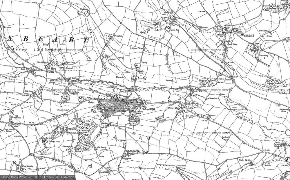 Old Map of Historic Map covering Leigh Barton in 1887