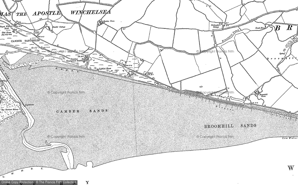 Old Map of Camber, 1908 in 1908