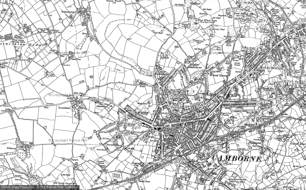 Old Map of Camborne, 1877 - 1906 in 1877