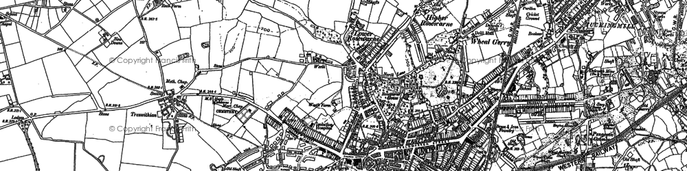 Old map of Camborne in 1877