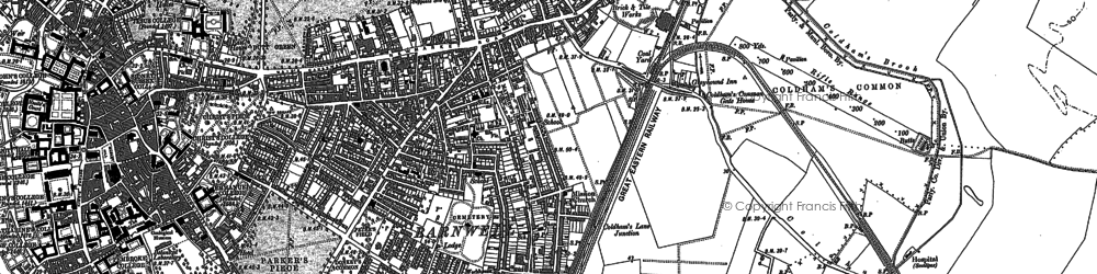 Old map of Cambridge in 1886