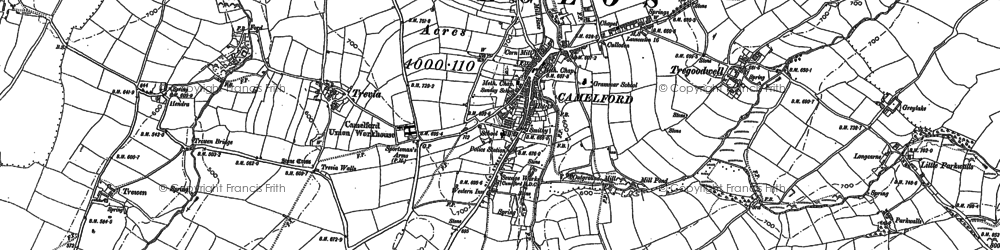 Old map of Camelford in 1905