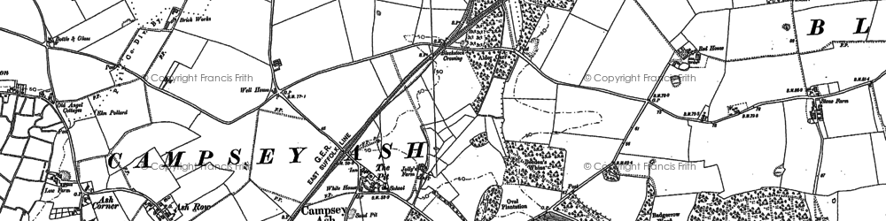 Old map of Wickham Market Sta in 1883