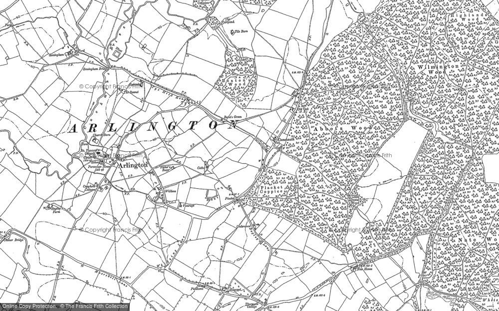 Old Map of Historic Map covering Abbot's Wood in 1898