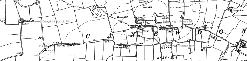 Old map of Canewdon in 1895