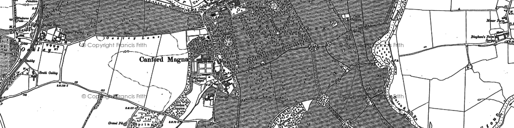 Old map of Canford Magna in 1887