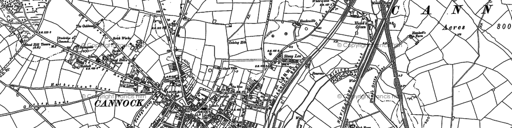 Old map of Cannock in 1883