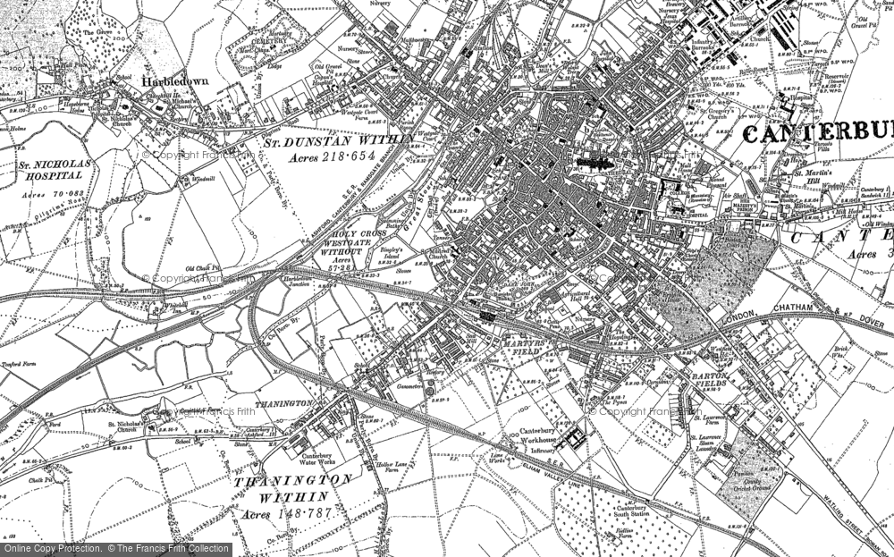 Old Map of Canterbury, 1896 in 1896