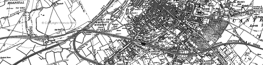 Old map of Canterbury in 1896