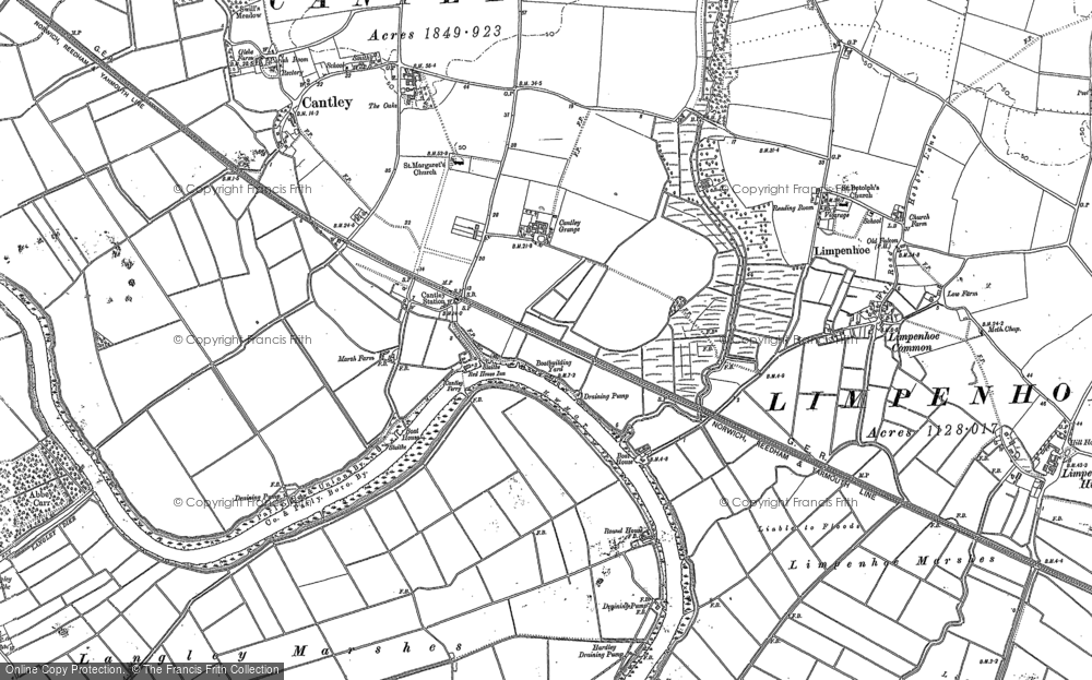 Old Map of Historic Map covering Langley Marshes in 1881