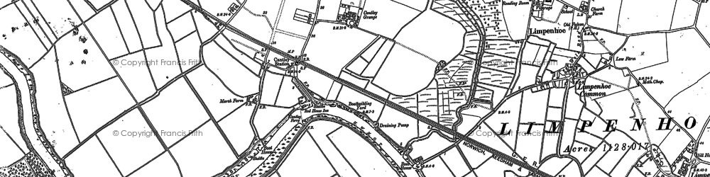 Old map of Langley Marshes in 1881