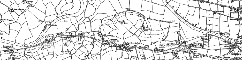 Old map of White Mill in 1886