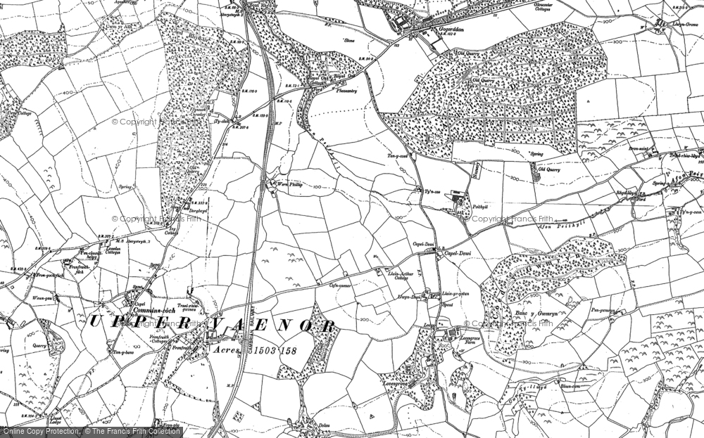 Old Map of Historic Map covering Allt Dderw in 1904