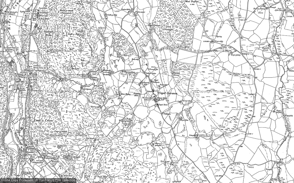 Old Map of Historic Map covering Afon Iwrch in 1910
