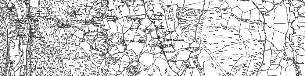 Old map of Afon Iwrch in 1910
