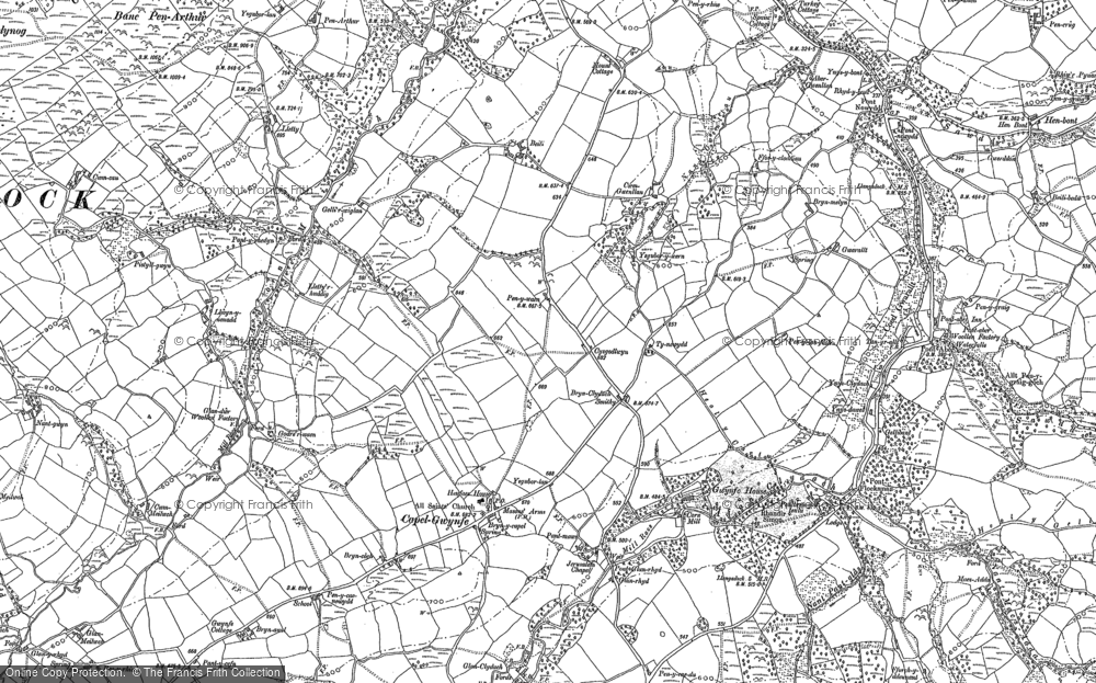 Old Map of Historic Map covering Afon Swadde in 1885