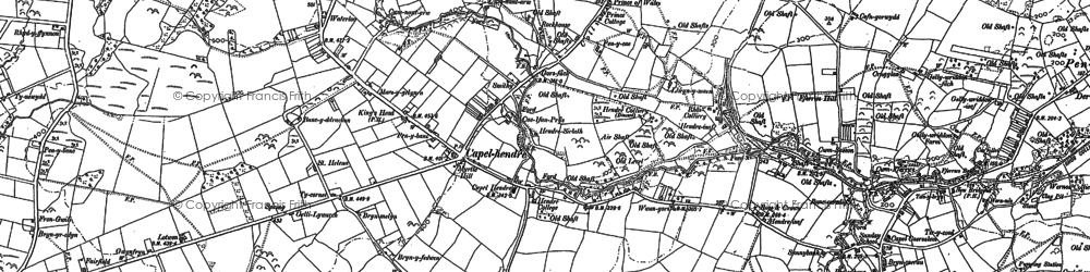 Old map of Capel Hendre in 1905