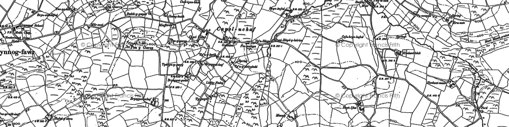 Old map of Afon Desach in 1899