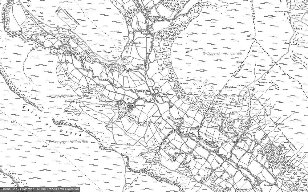 Old Map of Historic Map covering Afon Honddu in 1886