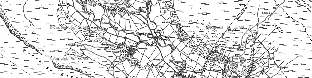 Old map of Afon Honddu in 1886