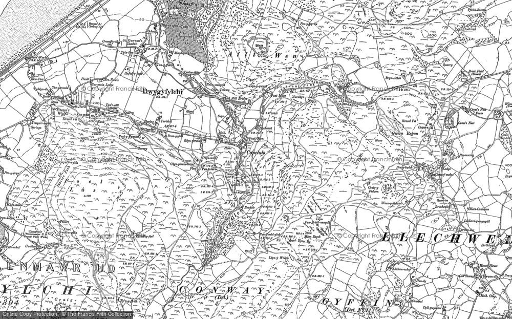 Old Map of Historic Map covering Afon Gyrach in 1887