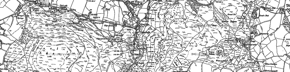 Old map of Afon Gyrach in 1887