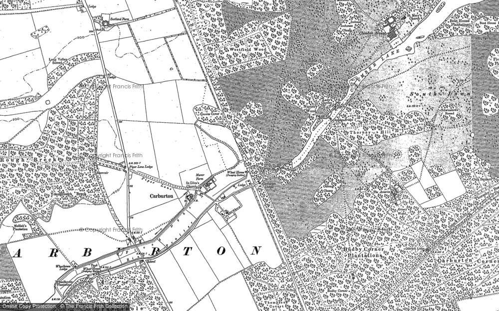 Old Map of Historic Map covering Aviaries, The in 1884