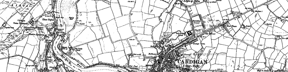 Old map of Cardigan in 1904